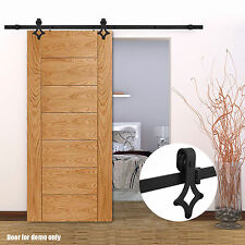 Black 6.6FT Sliding Barn Door Hardware Antique Track Interior Set With Rollers