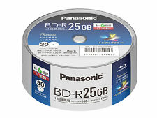 30 Pack in Spindle Panasonic BD-R 25GB 6x Speed Inkjet Printable Bluray Discs