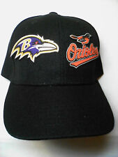Baltimore Ravens / Orioles Heat Applied Appliques on BLACK cap hat! 2 LOGOS!!