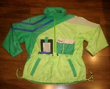 Vtg 80s 90s OBERMEYER Twister NEON Green Blue SKI Mens XL Hooded Jacket Coat