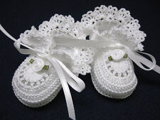 Crochet Baby Booties White with White Rose Baby Girl