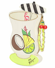 Betsey Johnson KITSCH ISLAND COCKTAIL Wristlet 57630 PINA COLADA Tropical Drink!