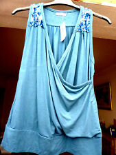 deep sea blue cross over sleeveless sequin decor stretch top by MK ONE sz16 BNWT
