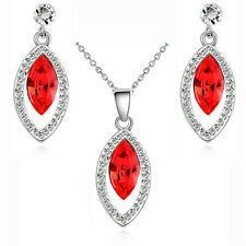 Diamante Red Crystal Evening Party Jewellery Set  Stud Earrings & Necklace S819