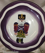 "TABLETOPS UNLIMITED ESPANA HOLIDAY NUTCRACKER SALAD PLATE 8 1/2"" PURPLE BAND"