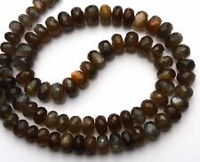 """Natural Gem African Grey Moonstone 7 to 10MM Facet Rondelle Beads 20"""" Necklace"""