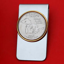 US 2004 Michigan State Quarter BU Uncirculated Coin Two Toned Money Clip New