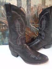 Vintage Black Lizard Leather Cowboy mens Boots 10D