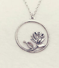silver flower pendant alloy necklace women girl necklace friend gift