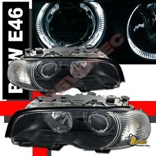 00 01 02 03 BMW E46 2DR Coupe Dual Halo Projector Headlights Black w/ Corner