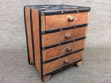 Vintage Indian Hand Made Wood & Metal Trinket Drawers - Jewellery Box - Storage