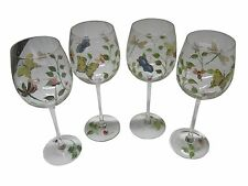 Lenox Butterfly Meadow Wine Glasses Set of 8 Hand Painted Excellent Condition
