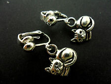 A PAIR TIBETAN SILVER CUTE DANGLY CAT CLIP ON  EARRINGS. NEW.