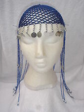 Ladies Egyptian Cleopatra Queen Of The Nile Blue Headpiece Fancy Dress Wig