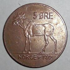 Norway 5 ore, Moose, animal wildlife coin