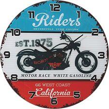 Wanduhr Glas Biker Uhr Motorrad Vintage Retro Shabby 30 cm California Riders NEU