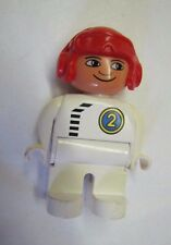 "LEGO DUPLO RACE CAR DRIVER #2 in Red Helmet for Motorcycle 2.5"" FIGURE Rare!"