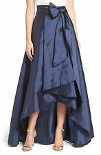 NWT $129 Adrianna Papell Navy Blue High Low Taffeta Front Pockets Ball Skirt 2