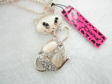 Betsey Johnson Cute inlay cat's Pendant Necklace Sweater chain charm BB01A
