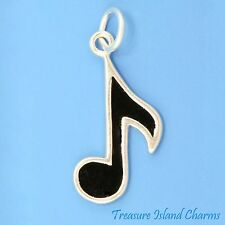 BLACK ENAMEL EIGHTH 8TH MUSIC NOTE .925 Solid Sterling Silver Charm