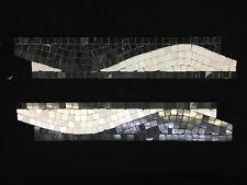 MOSAICO ROMANO WAVE piastrella su bordo 30.5cm x 6cm Cucina Bagno Doccia, Nero/Bianco