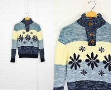 Vintage Mens S Sutton Place Nordic Turtleneck Roll Down Collar Snowflake Sweater