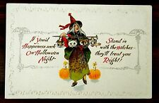H36 WITCH WITH CAT OWL GOBLINS HEADS ON A CANE HALLOWEEN Fantasy Postcard Nash