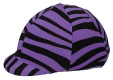 "Tough-1 Lycra Spandex Fun Print ""Purple Zebra"" Helmet Cover horse tack 19-715"