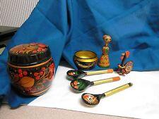SET of 7 SOVIET RUSSIAN Folk Art KHOKHLOMA Hand PAINTED Wooden Spoons Bowls