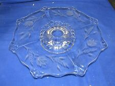 "14""wide EAPG Early American Pattern Glass Cake Plate Pedestal Stand,Etched Wheat"