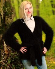 SUPERTANYA BLACK Hand Knitted Mohair Sweater Coat Fuzzy Wrap Fluffy Cardigan