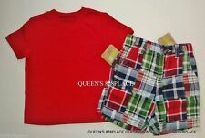 NWT Crazy 8 Boys size 12-18 Months red Tee Shirt & Plaid shorts 2-PC Set Outfit