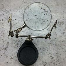 Soldering Stand Helping Hand & Magnifying Glass Magnifier With Crocodile Clips