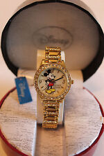 New Disney Mickey Mouse ladies gold plated watch, new/warranty + FREE GIFT