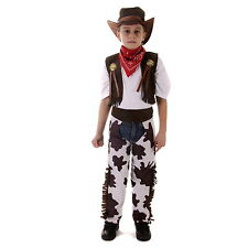 Kids Fancy Dress Halloween Cowboy Costume Wild West Boys Full Set Hat Ages 4-6