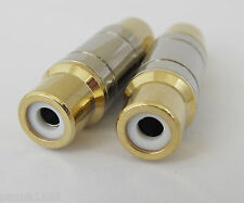 6pcs Gold Plated Brass RCA Phono Coupler Female to Female Audio Video Adapter