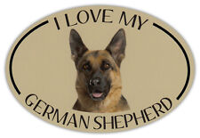Oval Dog Breed Picture Car Magnet - I Love My German Shepherd - Bumper Sticker