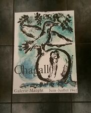 1962 Orig Marc Chagall Dove Lovers Poster Art Exhibition Galerie Maeght-Mourlot