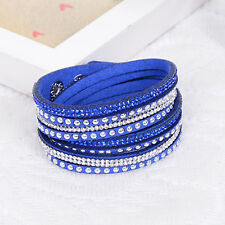 ELEGANT LEATHER Slake BRACELET MADE WITH SWAROVSKI CRYSTALS - DARK BLUE - NEW