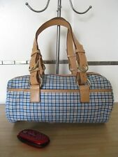 USED Authentic RALPH LAUREN Leather Barrel Satchel Bag - Plaid Blue FREE SHIP