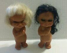 Vtg Girl Dolls Of Hard Rubber Coquette Black and White Hair Crying Smiling HTF