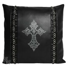 CUSHION RINESTONE GEMS SQUARE LEATHER LOOK GOTHIC CROSS CHAIN NEW NEMESIS NOW