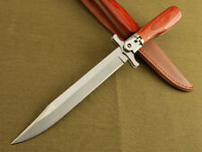 12'' 440 Blade Survival Bowie Large Wood Handle BottonvLock Folding Knife VTJF01