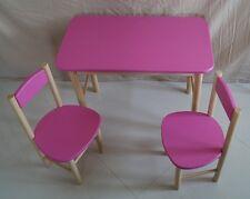 Kids Table et 2 chaises de salle de classe en bois de bois massif mobilier de jardin patio rose