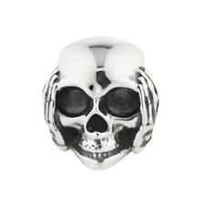 Calavera rebeligion plata para pulsera de cuero Black Rock Medium oír nada Bead