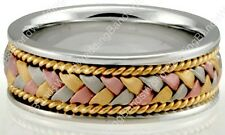 TRICOLOR Solid 14K Gold Hand Woven Braided Wedding Band Rings Multi Toned 8MM