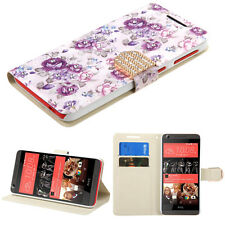 For htc Desire 626 626S PHONE PURPLE WHITE FLOWERS DIAMOND WALLET  COVER CASE