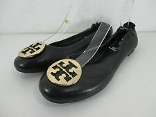 "Tory Burch Leather ""Reva"" Logo Elastic Back Ballet Ballerina Flat Black Sz 11"