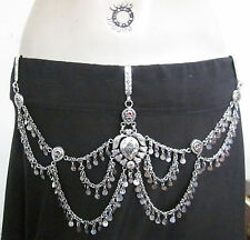 Womens Coin Chain Fashion BELT Vintage Silver Tribal Fusion Boho Bellydance Gift