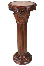 Hand-carved hardwood and solid natural marble column pedestal 23""